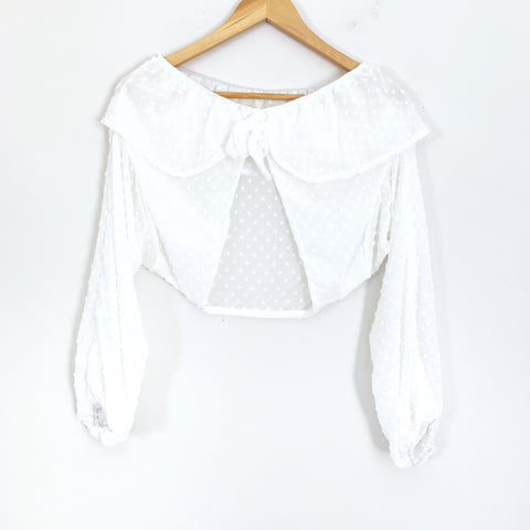 No Brand Sheer Dot Tie Front Crop Blouse- Size M