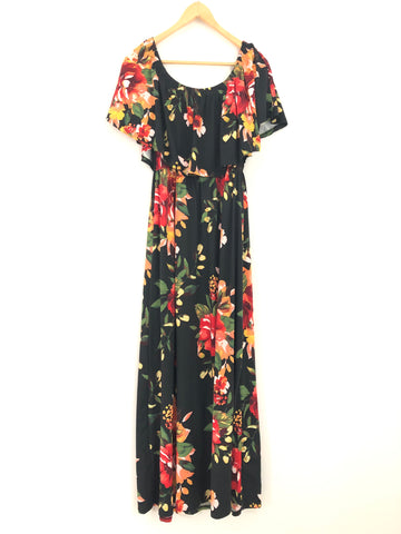 386e41681f Oddy Off the Shoulder Floral Stretchy and Super Soft Maxi Dress- Size M