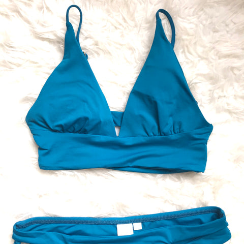 L*Space Turquoise Triangle Bikini Top- Size S (TOP ONLY)