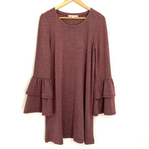 LOFT Purple Ruffle Sleeve Dress- Size XS