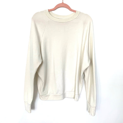 Mott & Bow Off White Crew Neck Sweatshirt- Size M