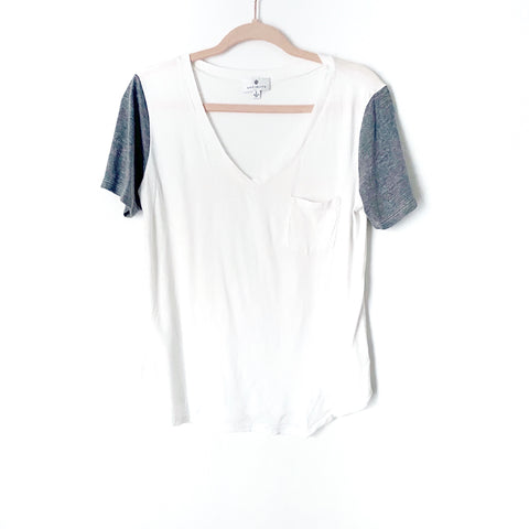 Socialite White Grey Sleeves V Neck Top- Size S (Jana)