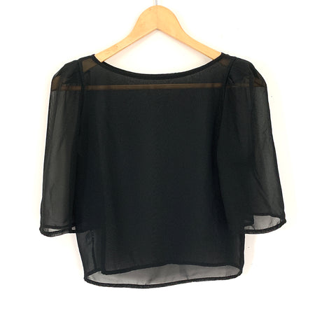 American Apparel Black Sheer Chiffon Crop Blouse With Shoulder Pad Detail- Size XS