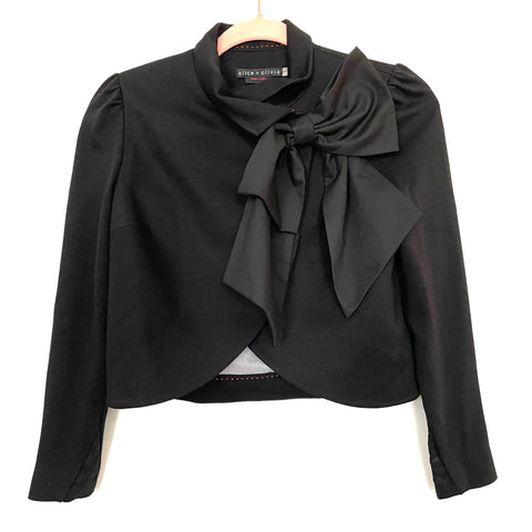 Alice & Olivia Employed Black Bow Collar Crop Jacket- Size XS (sold out online)