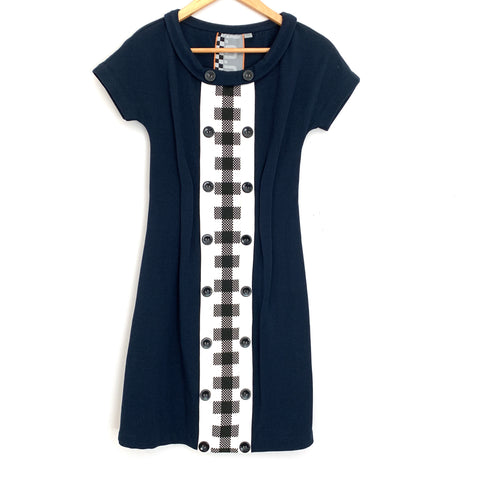 L.A.M.B Navy Dress with Black Checkered Detail- Size 2 (see notes)
