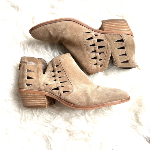 Vince Camuto Tan Suede Side Cut Out and Zipper Back Booties- Size 9