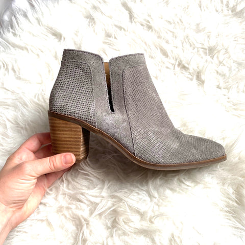 Lucky Grey Suede Side Cut Out Block Heel Booties- Size 9 (Like brand new!)