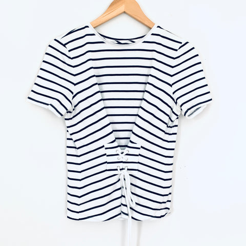 Ann Taylor Striped Lace Up Front Top- Size XS