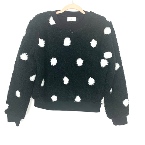 Lou & Grey Black and White Polka Dot Sherpa Pullover Sweater- Size XS