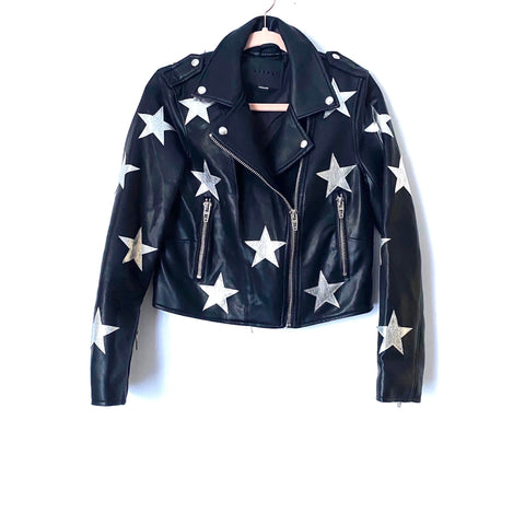 BLANKNYC Black Faux Leather Star Moto Jacket- Size S (Jana) sold out online