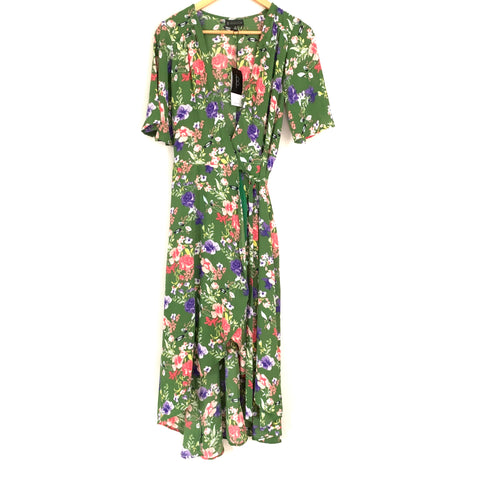 Bobeau Green Floral Midi Wrap Dress NWT- Size XS