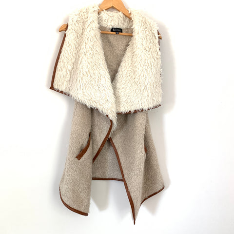 77 Sisters Cream Faux Fur Waterfall Vest with Leather Details- Size S/M
