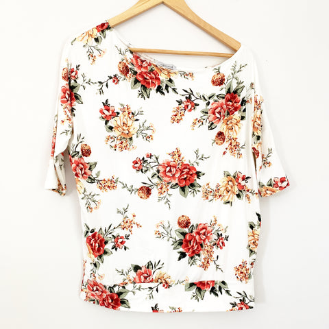 White Birch White Floral Tee Off One Shoulder Look- Size S