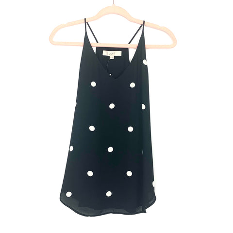 LOFT Black and White Polka Dot Racerback Tank NWT- Size XS