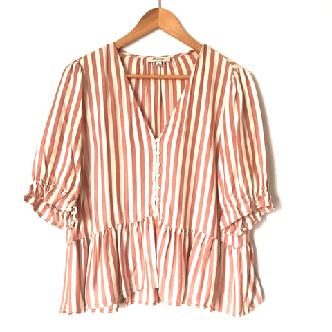 Madewell Striped Button Up Peplum Top- Size L