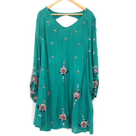 Free People Teal Embroidered Oxford Dress- Size XS (see notes)