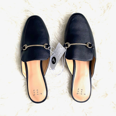 A New Day Black Buckle Mules NWT- Size 8.5