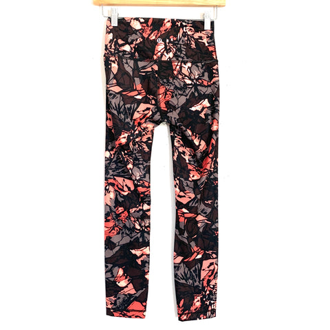 "Lululemon Black, Peach and Coral Design Legging with 4"" Waist Panel- Size 4 (Inseam 25"")"