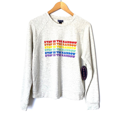 "Scoop ""Stay In The Rainbow"" Grey Sweatshirt NWT- Size S (4-6)"