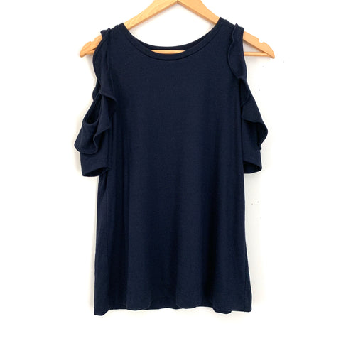 LOFT Navy Cold Shoulder Ruffle Top- Size S