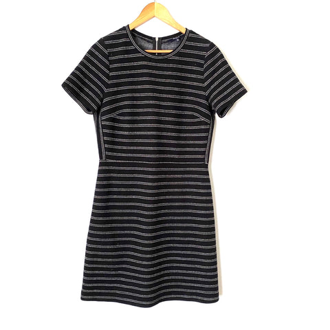 Madewell Black Striped Fitted Dress- Size 10