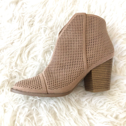 Qupid Tan Perforated Booties- Size 7 (Like New!)