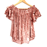 Umgee Crushed Velvet Off the Shoulder Ruffle Sleeve Blouse- Size S