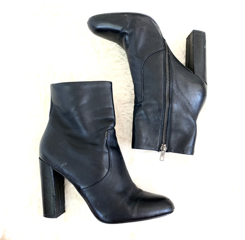 Steve Madden Black Leather Heel Booties with Side Zipper- Size 9 (see notes!!)