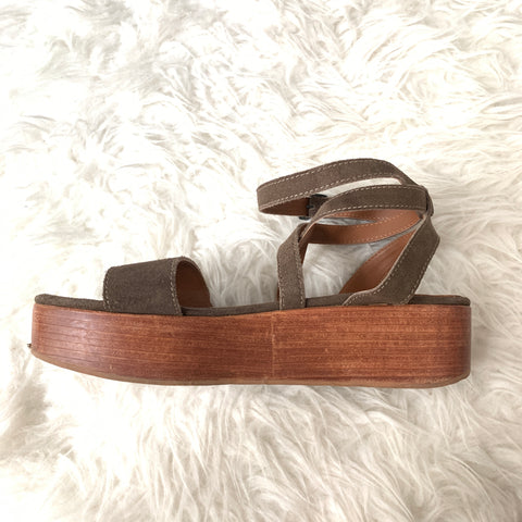 ABLE Brown Suede Platform Sandal- Size 7