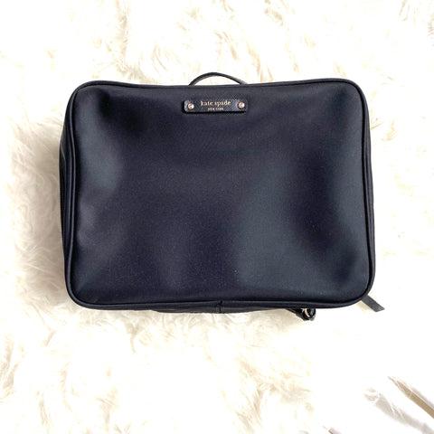 Kate Spade Black Trifold Cosmetic Case (like new!)