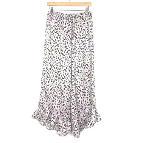 "Honeydew Purple Animal Print Wide Leg Ruffle Ankled Hem Pants- Size S (Inseam 27"")"