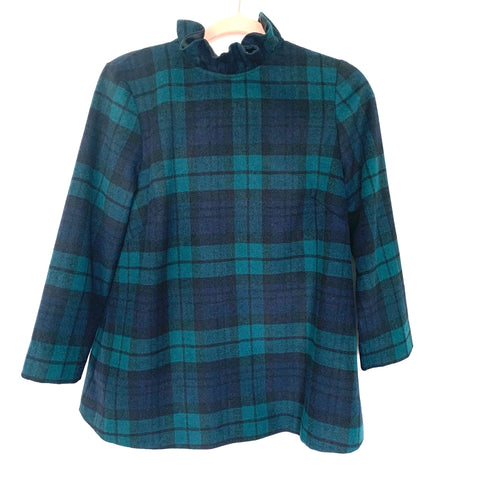 Tuckernuck Plaid Wool Blend High Ruffle Neck Back Tie Bow Blouse- Size S