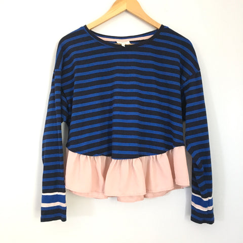 Deletta Blue Striped Top with Pink Sheer Hem- Size S