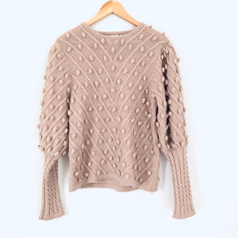 Chicwish Blush Pom Front Sweater NWT- Size ~S