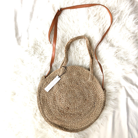 Sole Society Round Jute Large Shoulder Bag (with Crossbody option) NWT