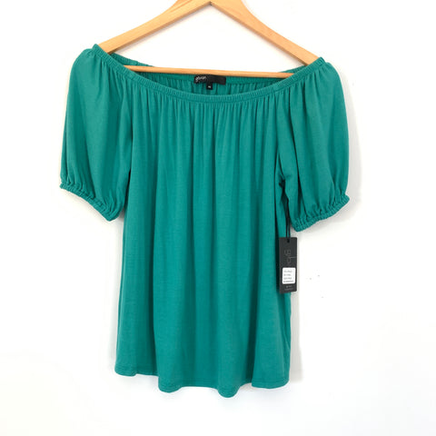 Gibson Teal Hot Summer Nights Off the Shoulder Blouse NWT- Size XS