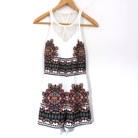 Minkpink Romper with Exposed Crochet Back- Size XS