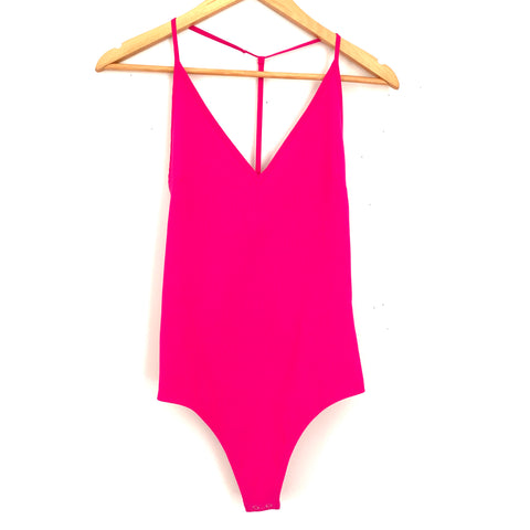Express Hot Pink T Back Ribbed Thong Bodysuit- Size XS