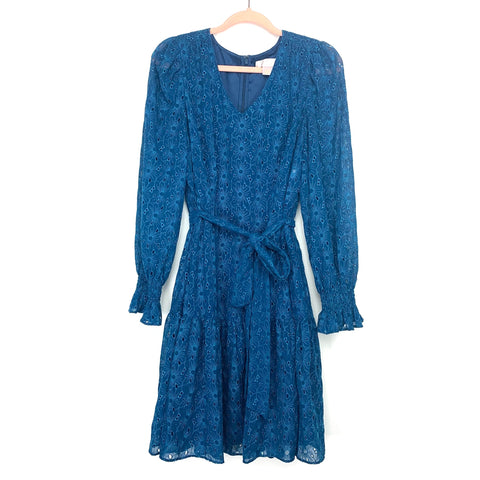 Rachel Parcell Teal Blue Embroidered Eyelet Smocked Sleeve Belted Dress- Size L (sold out online)
