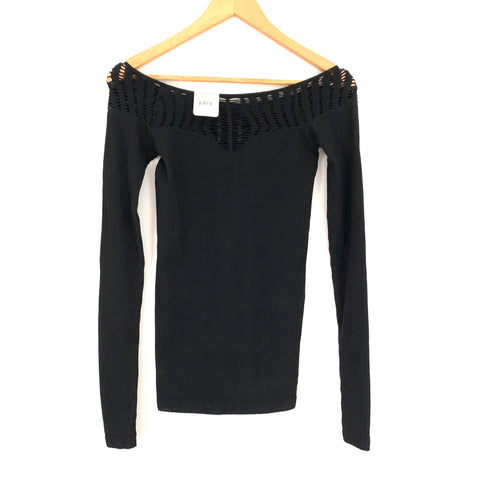 Free People Black Off the Shoulder Ribbed Long Sleeve Top NWT- Size M/L