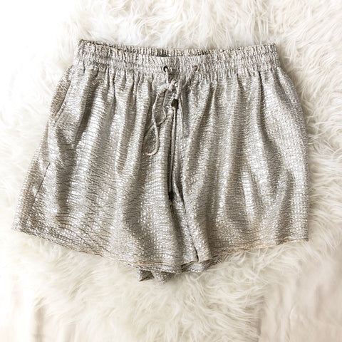 Heartloom Metallic Drawstring Shorts - Size XS
