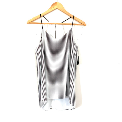 Express Black and White Striped Racerback Tank NWT- Size S
