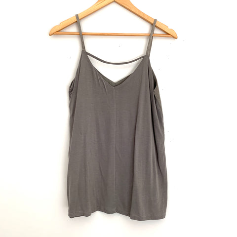 Ecru Grey Perforated Suede Tank Top- Size XS