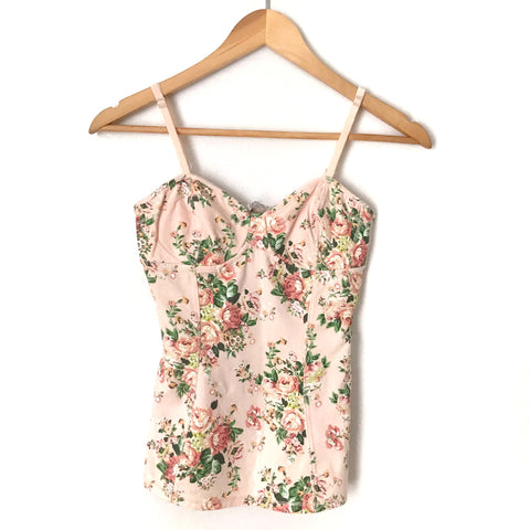 Pink Floral Structured Camisole- Size S