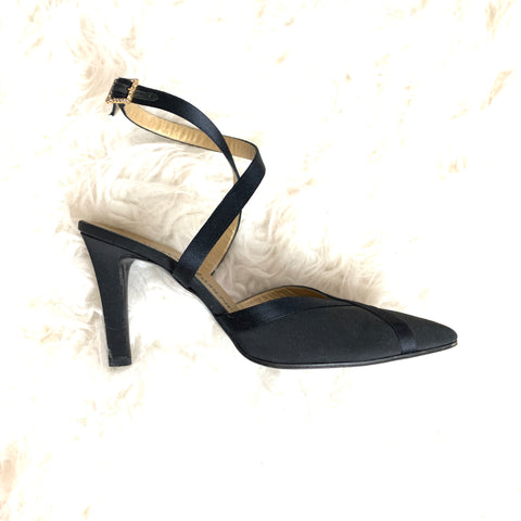 Yves Saint Lauren Black Criss Cross Short Heel Pumps- Size 6