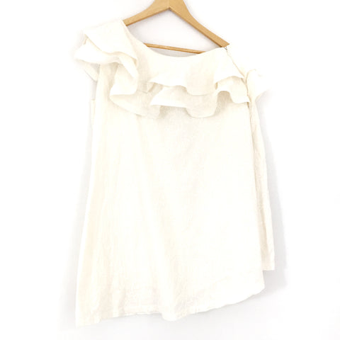 ASOS One Shoulder Ruffle Floral Embroidered Cream Dress- Size 6 (fits like a 2)