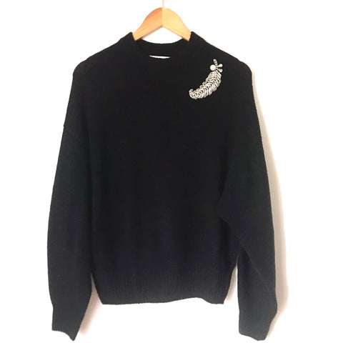 H&M Black Sweater with Broach Detail-Size S