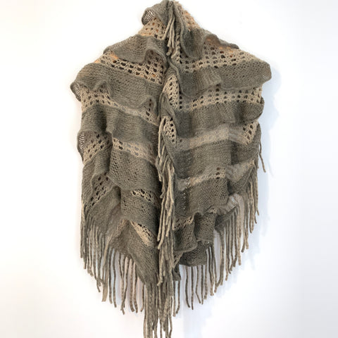 No Brand Brown Open Knit Infinity Scarf with Fringe