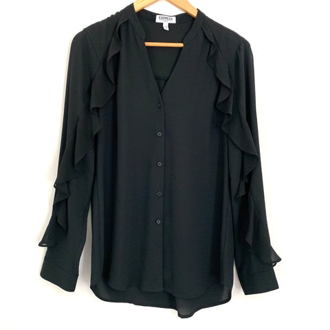 Express Portofino Slim Fit Ruffle Sleeve Black Blouse- Size M