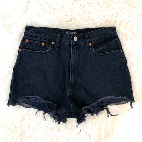 Abercrombie & Fitch Black High Waisted Denim Shorts- Size 26
